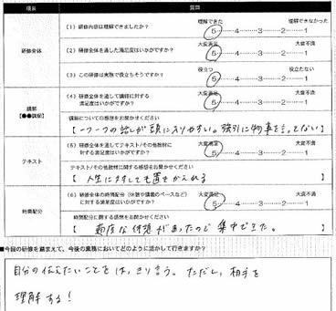 芸能関係法人研修 受講者アンケート